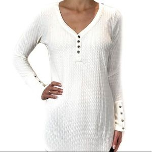 Chaser Waffle Long Sleeve with button Accents
